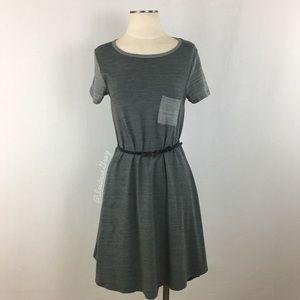 LuLaRoe- Carly Dress in Gray Stripe Colorblock Sm